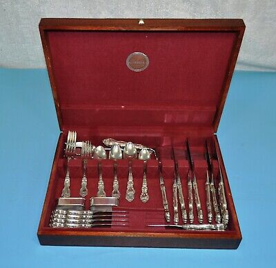 Wallace 33pc Sterling Silver Set Silverware Flatware Antique 1940-60