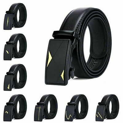 Fashion Mens Automatic Buckle Belt Leather Belt Waist Ratchet Leisure Waistband