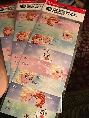 New 40 pack of Frozen Olaf Anna Elsa  Self Stick  Gift Tags  Christmas Disney