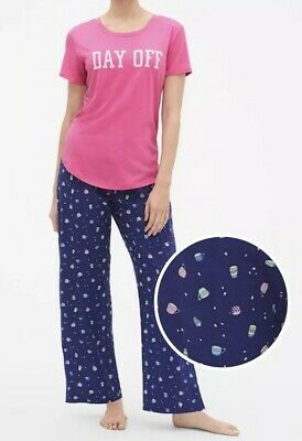 Gap Body Pajama PJ Set Women's Sleep Tee & Poplin Pants Day Off Coffee C $50 NWT