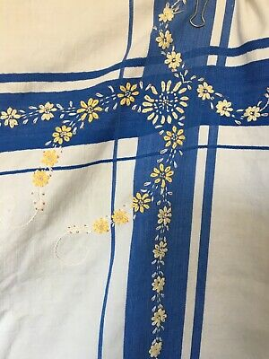 Vintage Blue & White Tablecloth With Pale Yellow Embroidered Flowers