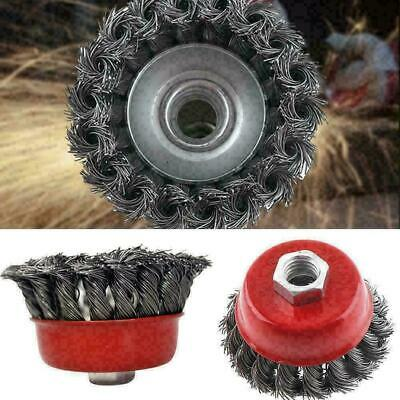 """3'' Metal Wire Wheel Cup Brush Crimped with 1/4"""" Shank Grinder Dril For Die B6X2"""
