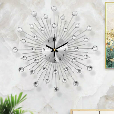 Living Room Diamante Beaded Crystal Jeweled Sunburst Wall Clock Home Decor