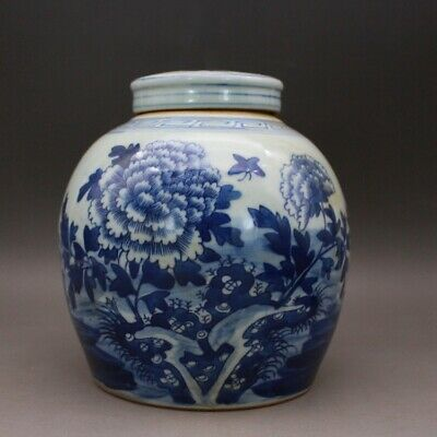"6.7"" Antique Old China Porcelain qing Dynasty Blue white peony pattern Jar pot"