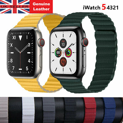 Genuine Leather For Apple Watch iWatch Strap Band Series 5 4 3 2 1 Magnetic Loop