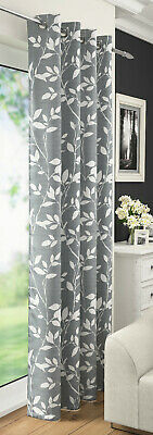 Grey Silver Voile Curtain Leaf Floral Net Curtain Eyelet Ring Top Voile Panel