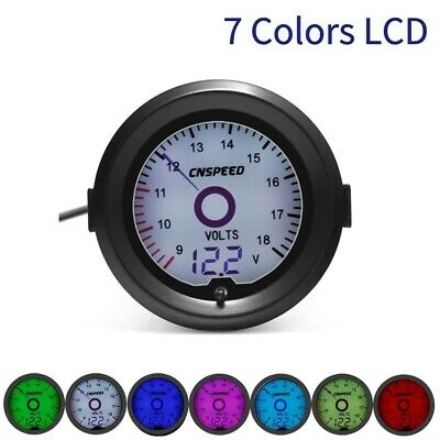 2'' 52mm Car Digital Voltage Meter Analog Auto Volt 9-18V Voltmeter 7 Color LCD