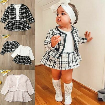 UK Kids Baby Girl Pageant Plaid Coat & Tutu Dress Party Outfits Clothes 2PCS