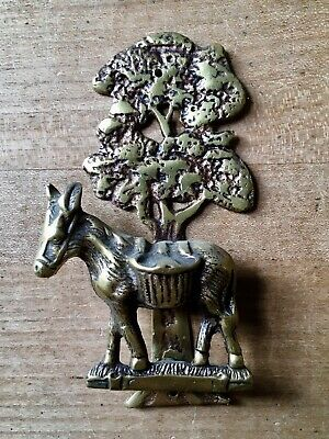 Brass Door Knocker Donkey Mule Tree Hardware Salvage Vintage Small