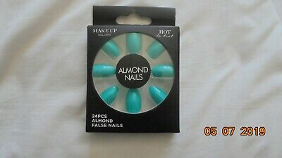 Make-Up Gallery Hot Aqua Almond False Nails 24 Pieces Boxed (NEW)