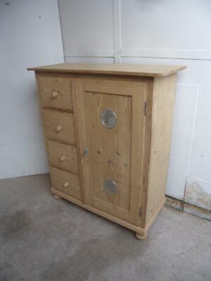 An Amazing Victorian Antique/Old Pine Kitchen/Food Cupboard to Wax/Paint
