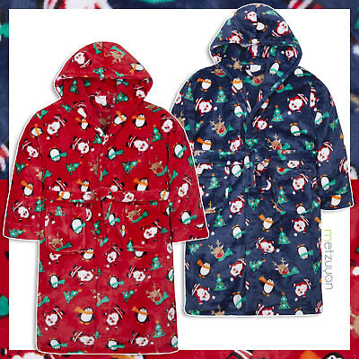 Girls Boys Novelty Robe Dressing Gown Christmas Hooded Plush Sale 7-13 Years UK