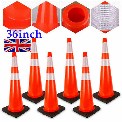 6× 36'' Road Traffic Cone Barrier Fluorescent Red Reflective Parking Safety Cone