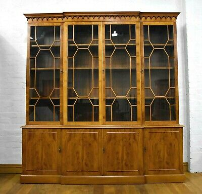 Antique style large breakfront glazed bookcase - display cabinet