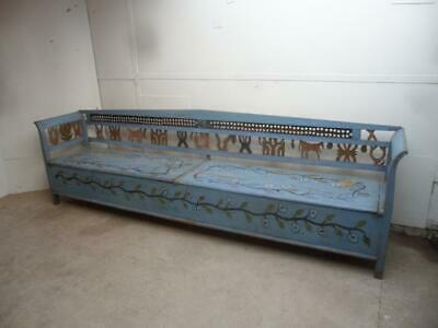A Rare Victorian Originally Painted Antique Old/Pine 11ft 6 Seater Settle
