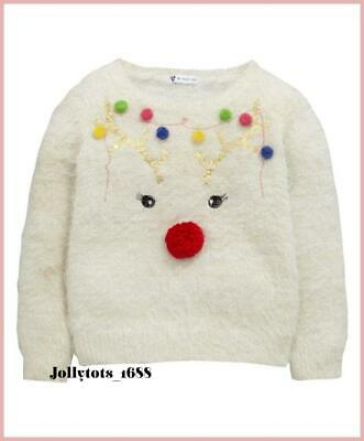 Quality V By Very Girls Christmas Jumper Ages 3-6 Year White Rudolf Pullover Top