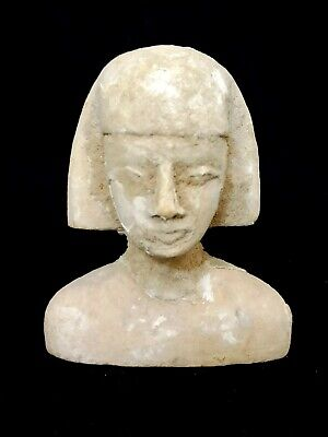 Rare Pharaoh Goddess Egyptian Antique Bust Statuette Ancient Stone Faience Craft