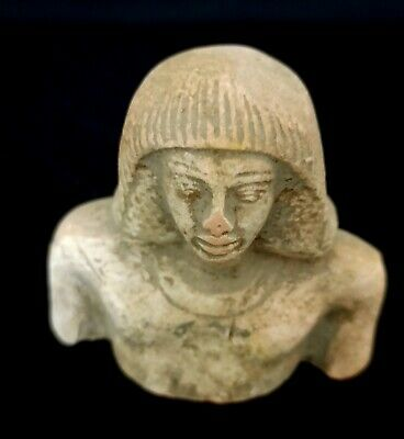 Unique Pharaoh Scribe Figurine Egyptian Antique Bust Statue Writer Stone Faience