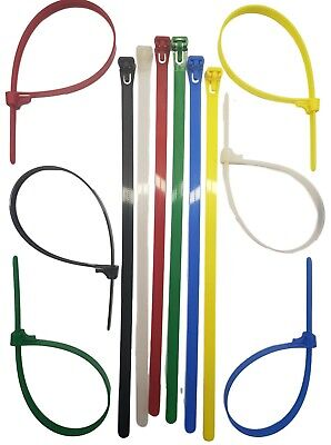 Releasable / Reusable Cable Ties Nylon Zip Tie Wraps Strong All Sizes & Colours