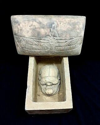 Box Of Secrets Egyptian Antique Scarab Beetle Amulet  Hieroglyphs Wedjet Isis