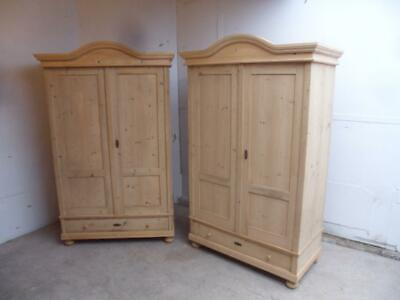 A Stunning Pair of Arch Top Antique/Old Pine Knockdown Wardrobes to Wax/Paint