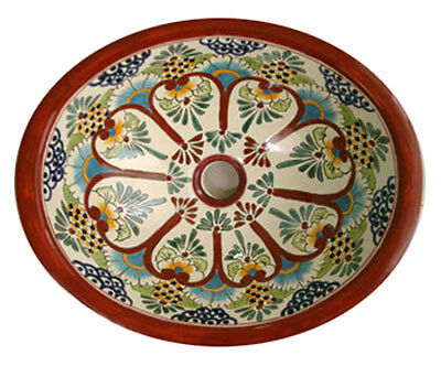 #138 LARGE BATHROOM SINK 21X17 MEXICAN CERAMIC HAND PAINT DROP IN UNDERMOUNT