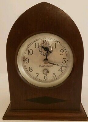 "Antique 1920's BRACH DELUXE Newark NJ Gothic Cathedral ""Spin Start"" Shelf Clock"