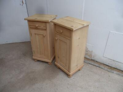 A Classic Tall Pair of Antique/Old Pine Victorian Bedside Cabinets to Wax/Paint
