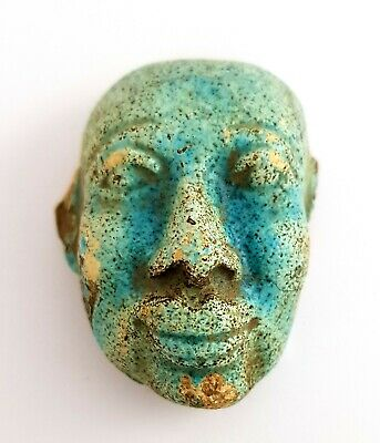 Amazing Amulet Ancient Egypt Antiques Rare Faience Rare Hieroglyphic Charm Chain