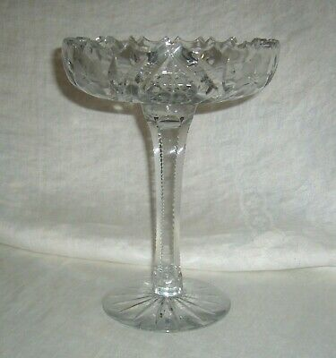 Antique American Brilliant Period Abp Floral, Deep Cut & Geometric Star Compote