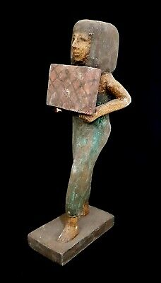 Beautiful Ancient Egyptian Woman Sculpture Antique Hieroglyphic Wooden Statue