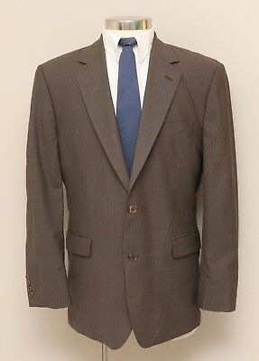 Mens 43R Brooks Brothers Stretch Brown/Grey Houndstooth Wool Blend Blazer