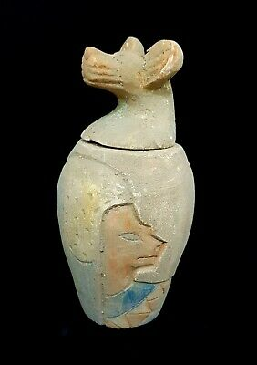 Egyptian Antiques Canops Sekhmet Figurine W/T Heroghliphics & Horus Ra VERY RARE