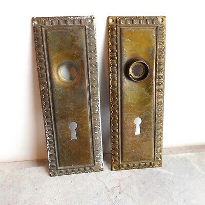 Matching Pair Vintage Brass Ornate Door Face Plates Architectural Salvage