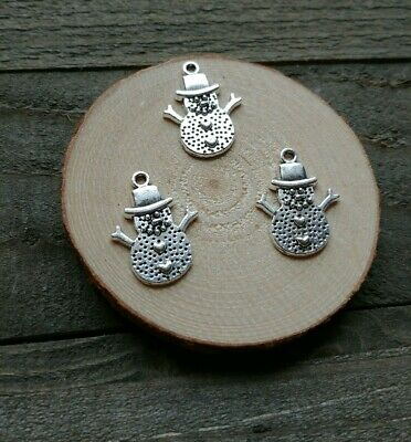 3 Snowman Charms Pendants Antiqued Silver Christmas Charms Findings 19mm