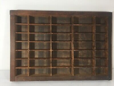 """Small Wooden Printers Type Set Drawer Tray 11X16"""" 35 Compartments Shadow Box"""
