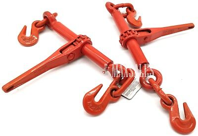 "(QTY-2) 1/4"" or 5/16"" Ratchet Load Binder Chain Equipment Tie Down Rigging"