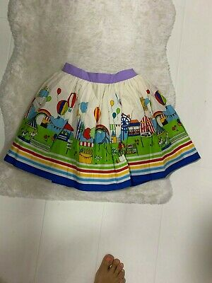 New Little Bird Jools Oliver Fairground Print Cotton Skirt - 5-6 Years 110-116Cm