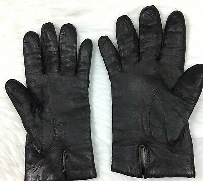 Vintage Black Leather Womens Gloves Made in Italy 7.5
