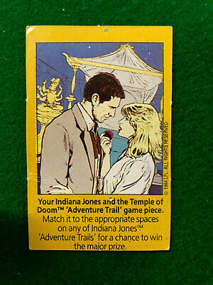 1984 Indiana Jones & The Temple Of Doom Rare Adventure Trail Kellogg's Game Card