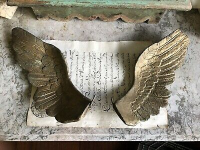 Beautiful Antique 19th Century French Gold Wings  Santos Angel Madonna Statue