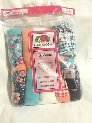 Girls Fruit of the Loom 10Pack Underwear Tag Free Cotton Bikinis Size 8 NEW