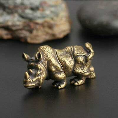 1pcs Collect Curio Chinese Small Brass Exquisite Rhinoceros Animal Statue