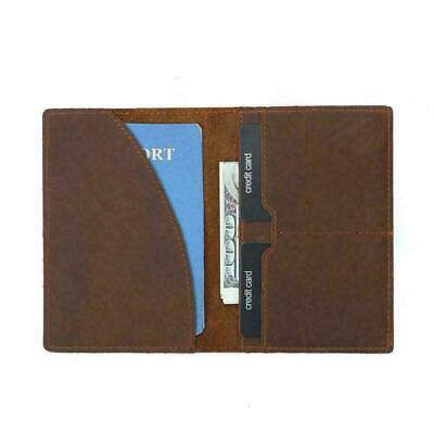 Classic Leather Passport Holder Wallet Case Cover Ticket Brown Travel A+~ B U1M7