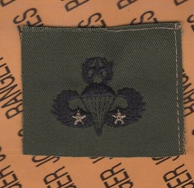 US Army Master 2nd Combat Jump Airborne Parachutist wing OD Green cloth patch