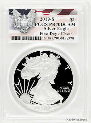 2019-S $1 American Silver Eagle PCGS PR70DCAM First Day of Issue - Eagle Label