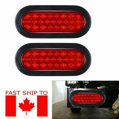"6"" 24 LED Oval Stop Brake Tail Lights w/Rubber Grommet Truck Trailer (RED, 2PCS)"