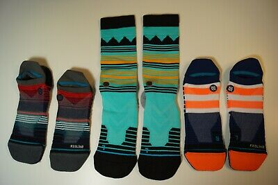 Lot of 3 Stance Mens Fusion & Tab Socks Size Large, Grade B Socks, Performance