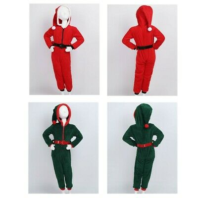 Girls Christmas Hooded Pajamas Soft Coral Fleece Nightwear Clothes Fancy Dress