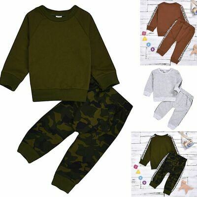 Toddler Kids Baby Girl Tracksuit Sweat Shirt Tops+Pants 2PCS Outfits Clothes Set